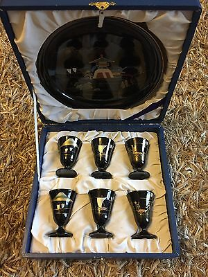 Vintage Japanese Lacquered Sake Set Tray & 6 Cups Hand Painted Gold-Black -Boxed