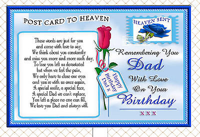 Dad Birthday Postcard To Heaven Memorial Graveside Card & Free Holder