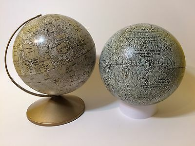 "2 Vintage 1960's Replogle 6"" Moon Globes with Apollo Moon Landings"