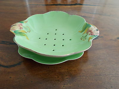 Royal Winton Green Tiger Lily Strainer Set ,has Repairs