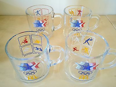 VINTAGE 1984 OLYMPICS LOS ANGELES - McDONALDS SET OF 4 GLASSES - ALL DIFFERENT