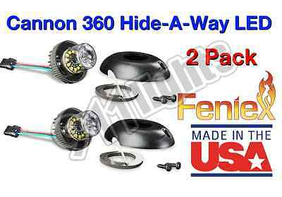 2 Pack Cannon 360 Hide-A-Way LEDs Blue+White, Free Switch, Free Flange, H-2215