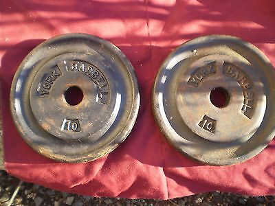 2 York 10lb. Barbell Weights  Total-20lbs.