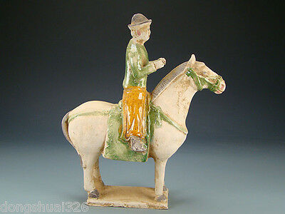 Ancient Chinese Rare Valuable Wonderful Ming DY SanCai Pottery Horse And Rider