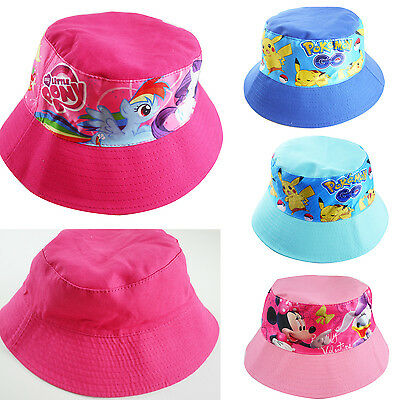 Kids boys girls hunting fishing reversible bucket hat Cars Pony Minnie Pokemon