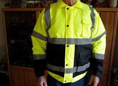 New  Pro Wear High-Visibility Bomber Jacket- Class 3 Lime/Black  Large #UHV562