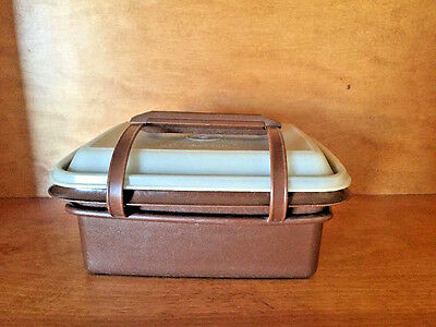 TUPPERWARE LUNCH BOX BROWN PAK N' CARRY SET (A.K.A Ice Cream Keeper) #1254-18