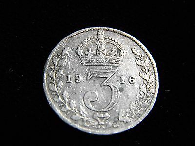 1916 3 Pence Silver Coin Great Britain Nice Condition