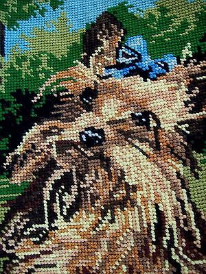 Vintage Finished Dmc Tapestry Small Cute Dog