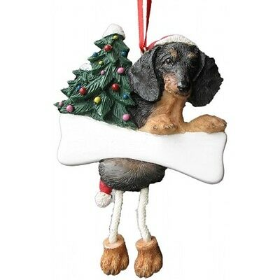 Dachshund Black Dangling Wobbly Leg Dog Bone Christmas Ornament