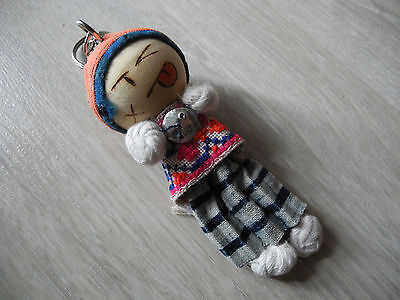 Keychain Ring Doll Wood Head Hmong Fabric Women Lady Cute Souvenir Collectible-3