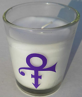 PRINCE CANDLE w/ Purple symbol - White Candle GLASS NPG STORE London
