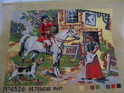 """Vintage Unworked Tapestry """"retouche"""" Horse And Hound"""