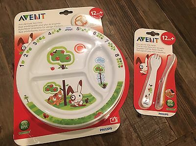 Avent Plate And Cutlery Non Slip Easy Grip. Toddler Plate Fork And Spoon. New