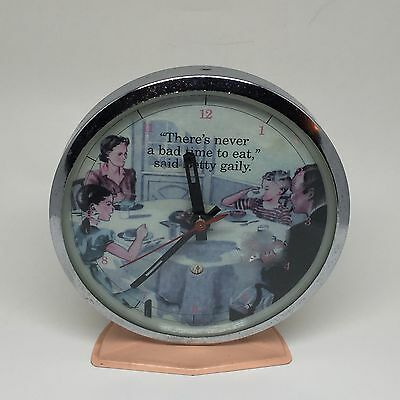 Vintage Windup Alarm Clock Light Pink with a Betty Gaily Quote