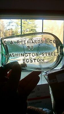 C. A. Richards and Co. Boston blown in mold vertically embossed Shoo-fly flask