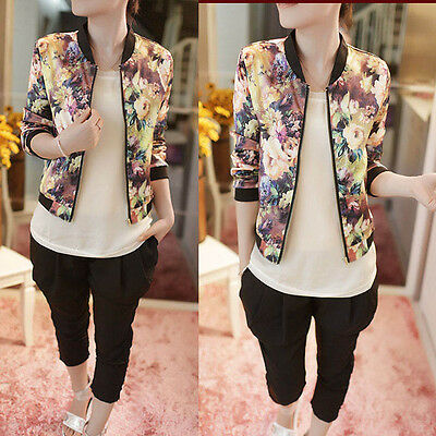 HOT 1PC Women Coat Stand Collar Long Sleeve Zipper Floral Printed Bomber Jacket