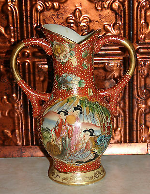 Vintage Chinese Vase Hand Painted Geisha 7.5 inches tall ~ Asian Inspired ~