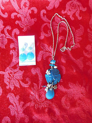 Sea Blue and Silver Matching Sand Dollar Seaglass Necklace and Earring Set