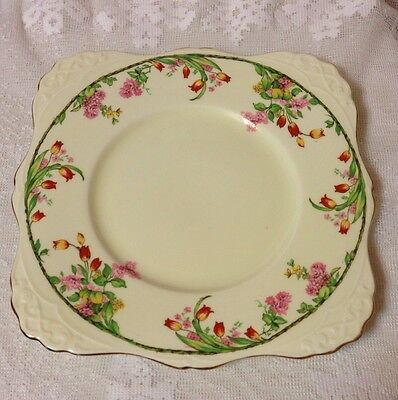 Pretty Tuscan Bone China Square Cake Cookie Plate Flowers Tulips
