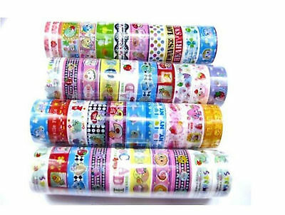 10 Rolls 1.5CM X2M Adhesive Scrapbooking Sticker Washi Tape Mixed Cartoon Deco