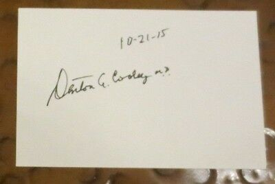 Denton Cooley MD heart surgeon Artificial heart transplant signed index card