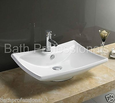 Basin Sink Bathroom Countertop Cloakroom Wall Hung Mounted Square Ceramic WH72