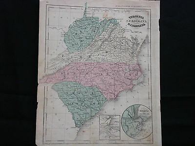 Antique 1868 Map of Virginia/North Carolina/South Carolina - RARE