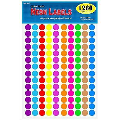 """Pack of 1260 3/4"""" Round Color Coding Circle Dot Labels, 10 Bright Neon Colors, 8"""