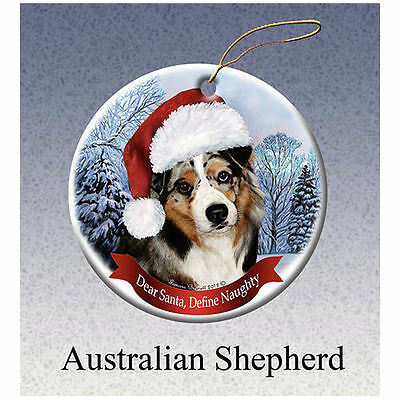 Australian Shepherd Howliday Porcelain China Dog Christmas Ornament