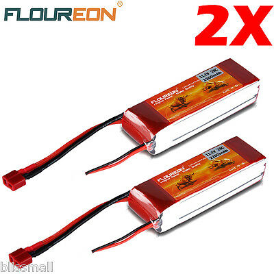 2X 11.1V 25C 2200mAh 3S Lipo Battery for RC Helicopter Airplane Hobby Deans Plug