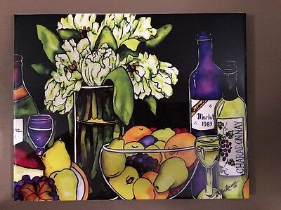 """8"""" X 10"""" Parrot Tulips and Wine Art Ceramic Tile Collectible Kate Larsson Studio"""