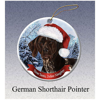 German Shorthaired Pointer Howliday Porcelain China Dog Christmas Ornament