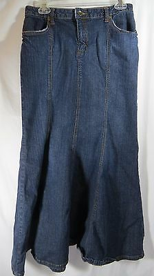 a.n.a Womens Flare Trumpet Long Blue Jean Skirt Size 8