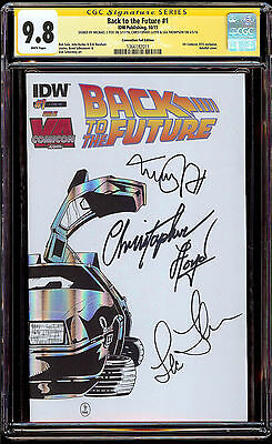 Back to the Future #1 CGC 9.8 SS Convention Foil Variant Cast Signed Fox Lloyd +
