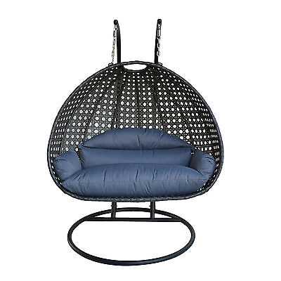 Heavy Duty 2 Person Wicker Egg Swing Chair Porch Hammock Outdoor Furniture CH L