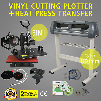 "5in1 Heat Press Transfer Kit 34"" Vinyl Cutting Plotter Artcut Software Machine"