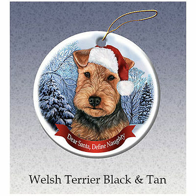 Welsh Terrier Howliday Porcelain China Dog Christmas Ornament
