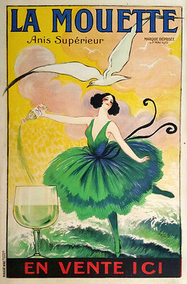 FRENCH WINE 1920 Vintage Advertising Poster Giclee Canvas Print 20X30