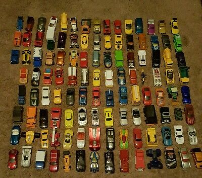 huge lot hot wheels, matchbox and other misc cars and trucks115 total vehicles