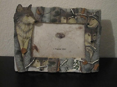 "Wolf Wolves Resin Photo Frame 9-1/2"" x 7"""
