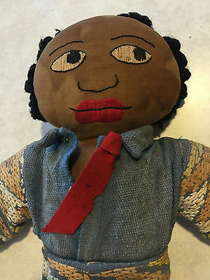 Vintage stuffed Black African American male cloth doll made by Indians