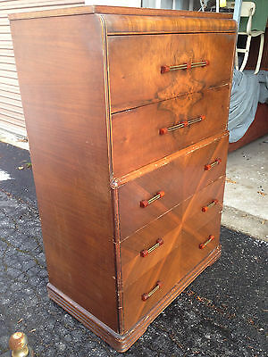 Antique Burled Art Deco Tallboy Chest of Drawers