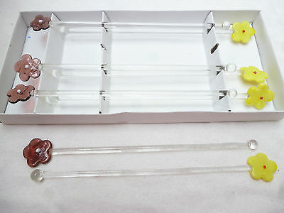 8 Daisy Art Glass Swizzle Sticks / Drinks Stirrers
