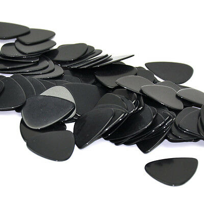 Lots of 100pcs 1mm Heavy Gauge Guitar Picks Plectrums Celluloid Solid Black New