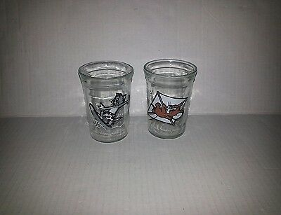 Vintage Welchs Jelly Jars Tom & Jerry Juice Glass Cups 1990 Collectable 2 PC SET