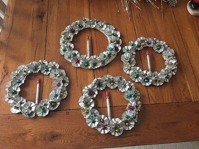 4 Awesome Vintage Mid-Century Aluminum Wreaths With Mercury Glass Candles, MORE