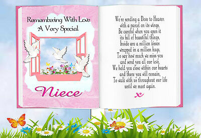 Niece Book Shaped Memorial Bereavement Graveside Keepsake Card & Free Holder