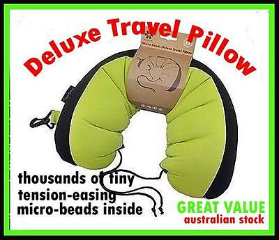 DELUXE TRAVEL PILLOW U SHAPE SUPPORT NECK PILLOW CUSHION with Micro-Beads