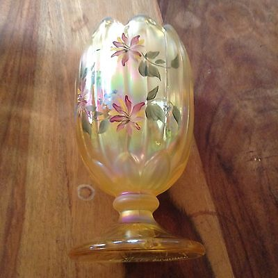 Fenton Yellow Hand Painted And Signed Vase